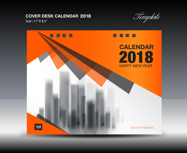 Orange desk calendar 2018 cover template vector 03