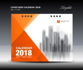 Orange desk calendar 2018 cover template vector 05