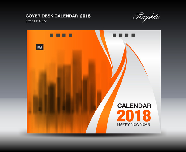 Orange desk calendar 2018 cover template vector 06