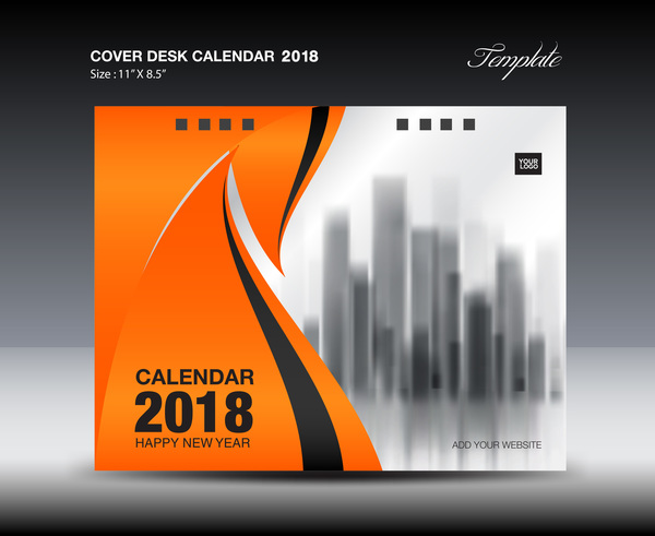 orange desk calendar 2018 cover template vector 08 free download