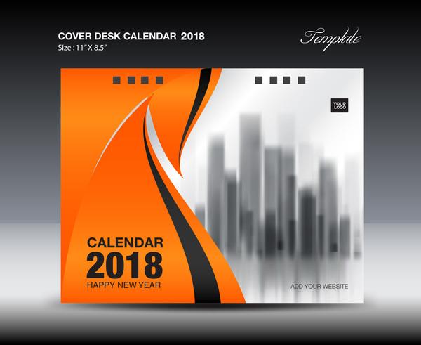 Orange desk calendar 2018 cover template vector 08