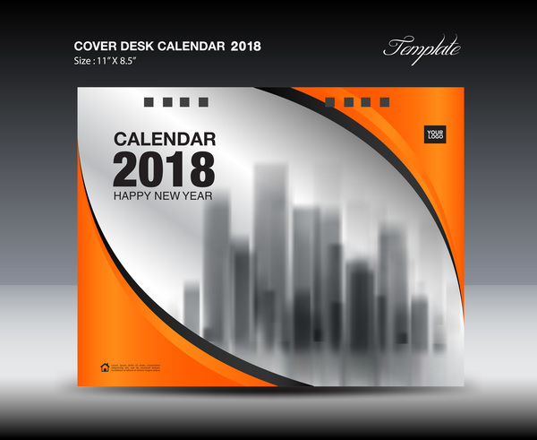 Orange desk calendar 2018 cover template vector 10