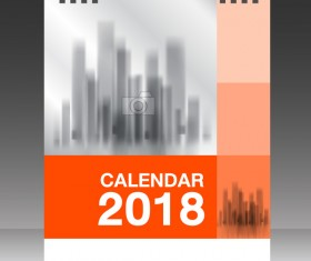 Orange desk calendar 2018 cover template vector 11