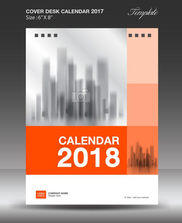 Orange desk calendar 2018 cover template vector 11