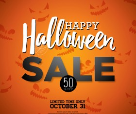 Orange halloween sale background vector 01