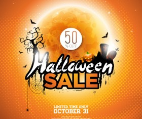 Orange halloween sale background vector 02