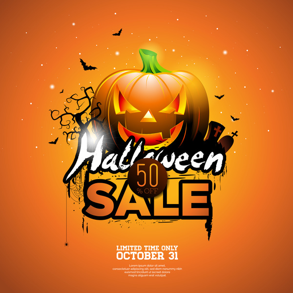 Orange Halloween Sale Background Vector 03
