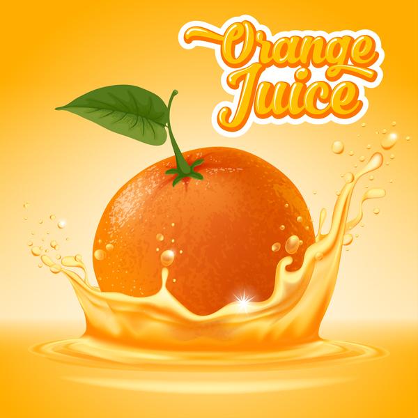 Orange juice ad poster template vector 01