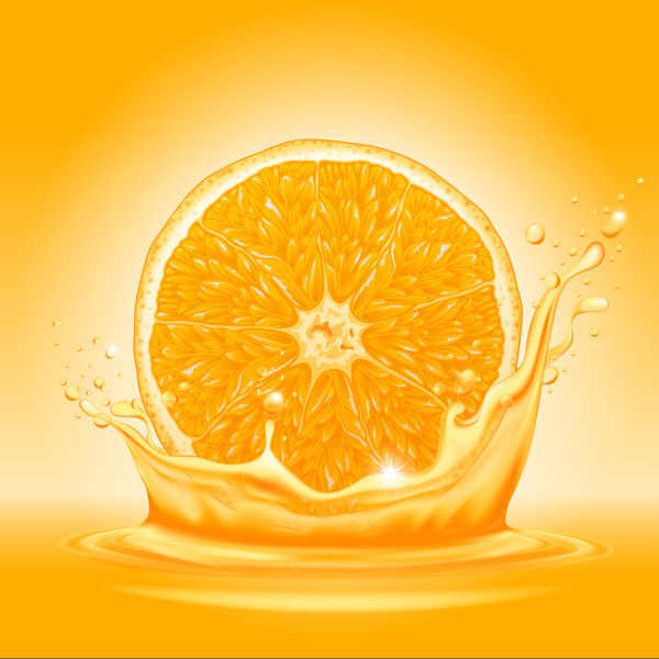 orange juice splash vector background free download