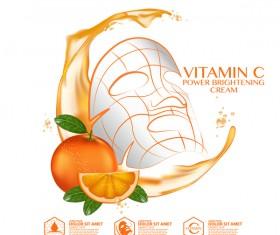 Orange skin care mask advertising poster vector 01