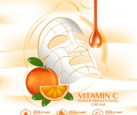Orange skin care mask advertising poster vector 02