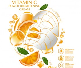 Orange skin care mask advertising poster vector 03
