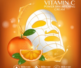 Orange skin care mask advertising poster vector 04