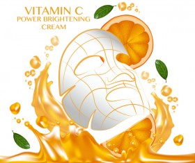 Orange skin care mask advertising poster vector 05