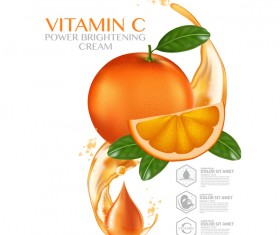 Orange vitamin power brightening cream adv poster vector 01