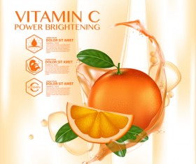 Orange vitamin power brightening cream adv poster vector 03