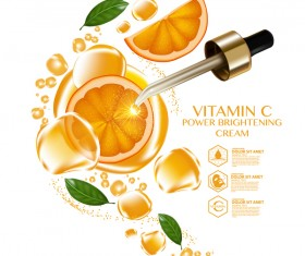 Orange vitamin power brightening cream adv poster vector 04