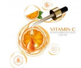 Orange vitamin power brightening cream adv poster vector 05