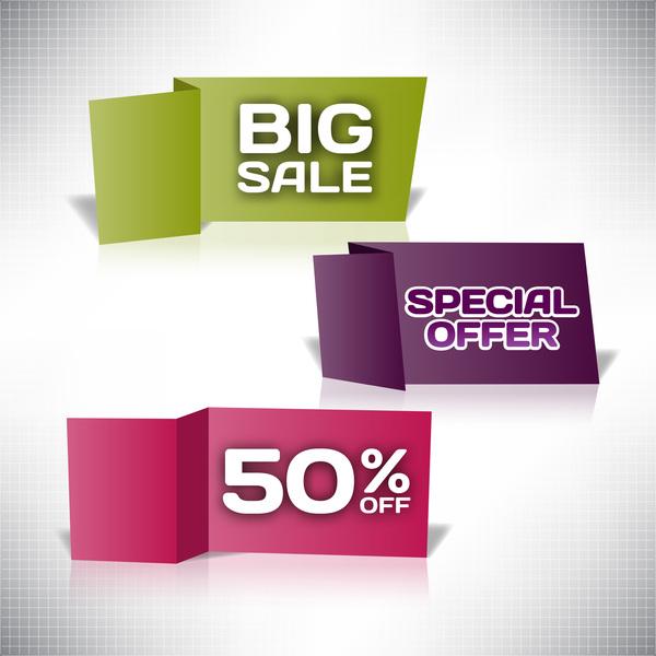 Origami big sale labels design vector