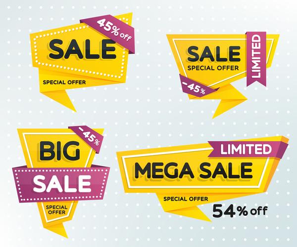 Origami mega sale label yellow vector