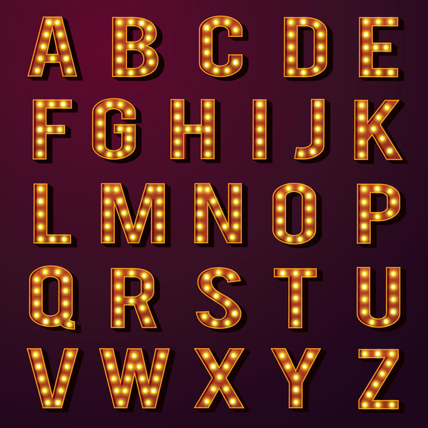 Ornage neon alphabet vector material