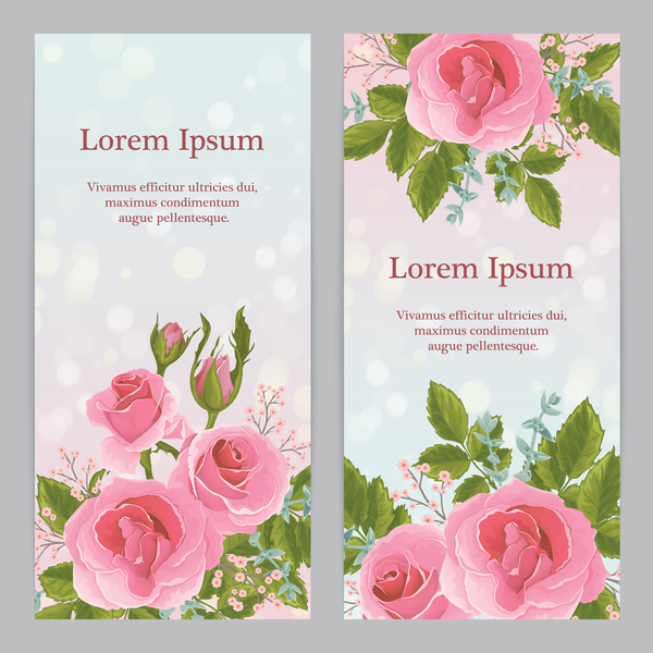 Pink rose banner template vector