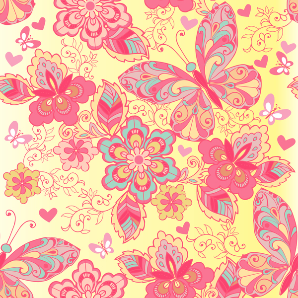 Pink seamless pattern of butterflies and flowers vector