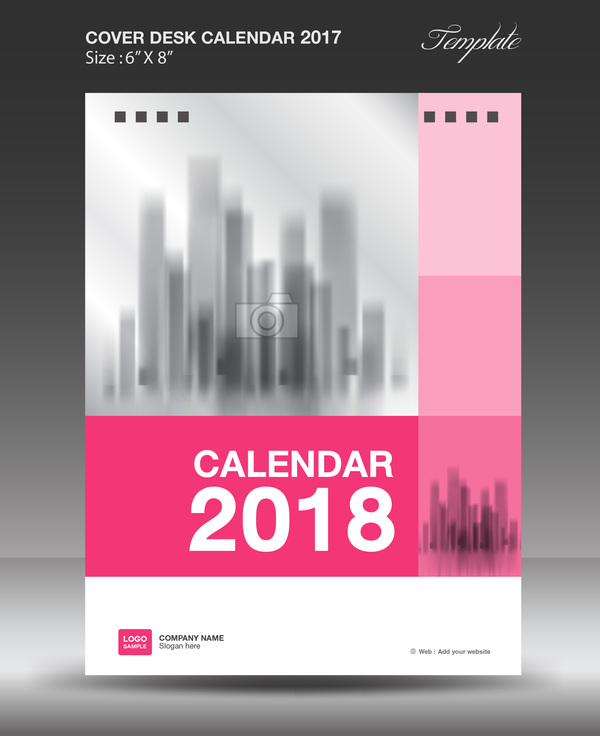 Calendar Cover 2018 : Pink vertical desk calendar cover template vector