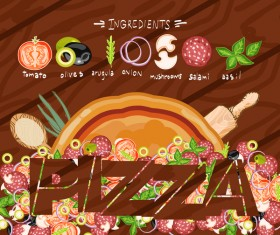 Pizza menu cover vector template