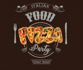 Pizza party poster template vector