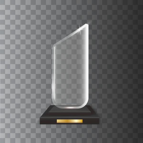 Polygon acrylic glass trophy award vector 03