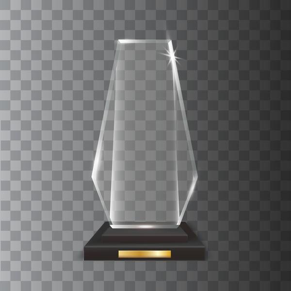 Transparent Realistic Blank Vector Acrylic Glass Trophy Award