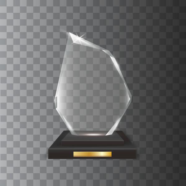 Polygon acrylic glass trophy award vector 07
