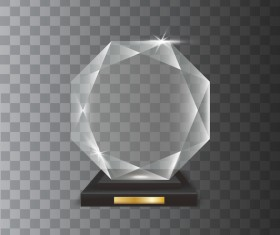 Polygon acrylic glass trophy award vector 12