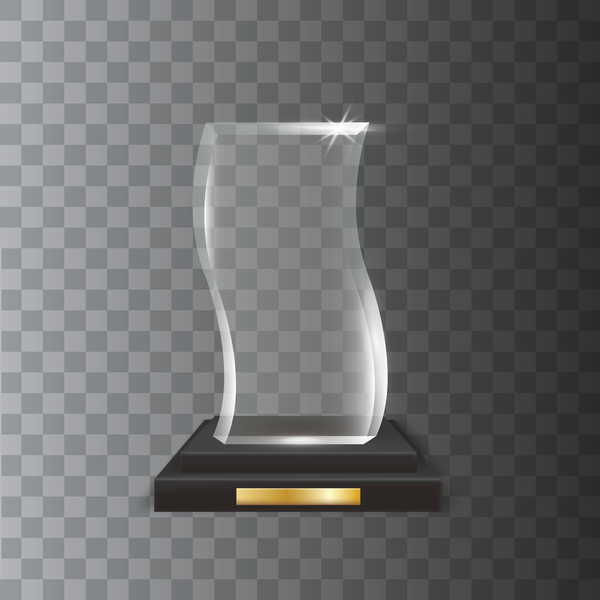 Polygon acrylic glass trophy award vector 13