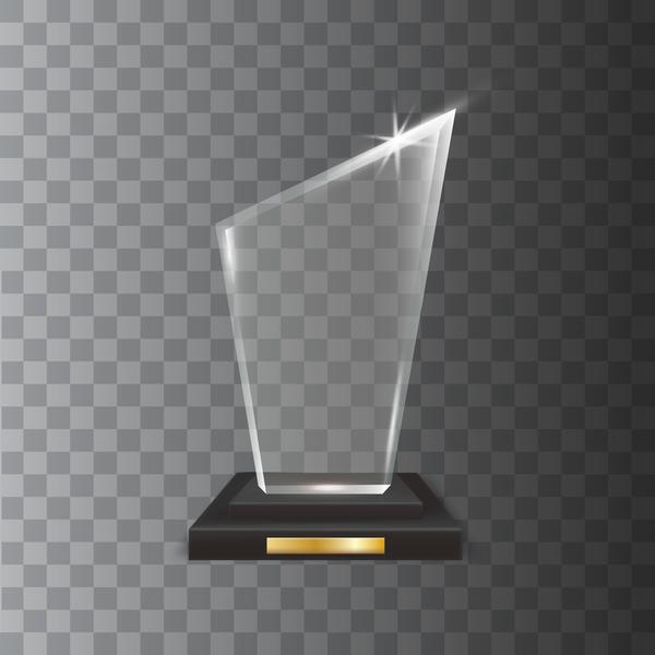 Polygon acrylic glass trophy award vector 14