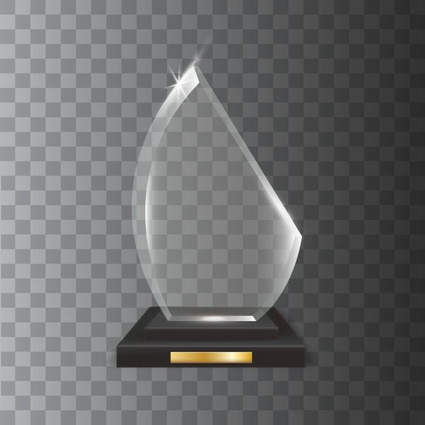 Polygon acrylic glass trophy award vector 15