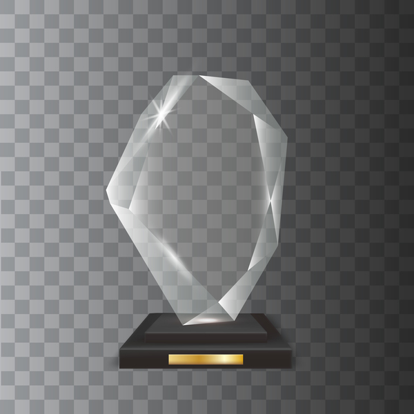 Polygon acrylic glass trophy award vector 17