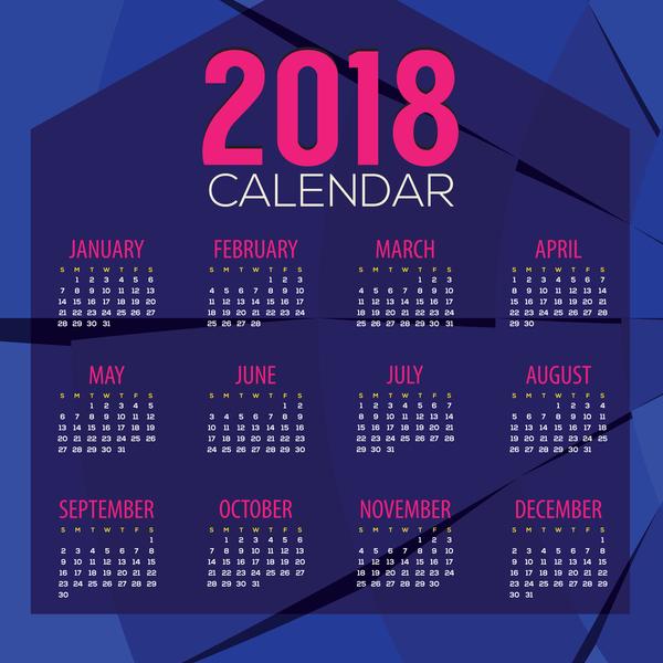 Purple 2018 calendar with wavy lines vector 02
