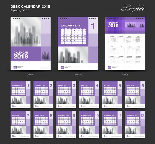 Purple Desk Calendar 2018 vector template