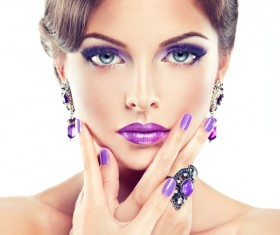 Purple makeup with nail beautiful woman Stock Photo