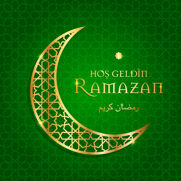 Ramazan background with golden moon vector 02