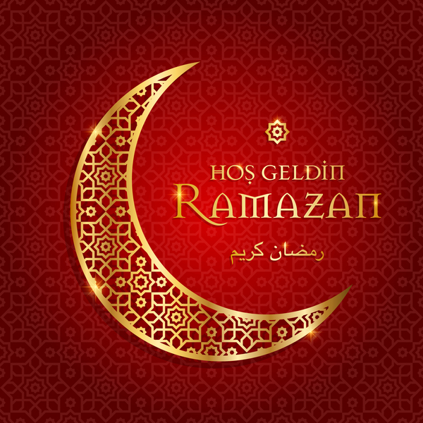 Ramazan background with golden moon vector 03