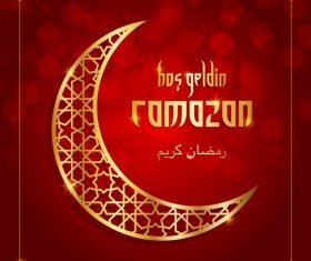 Ramazan background with golden moon vector 04