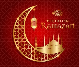 Ramazan background with golden moon vector 05