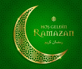 Ramazan background with golden moon vector 06