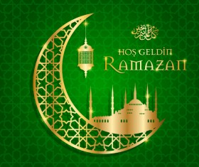Ramazan background with golden moon vector 07