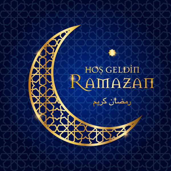Ramazan background with golden moon vector 09