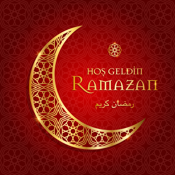 Ramazan background with golden moon vector 10