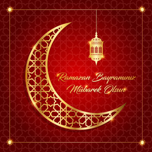 Ramazan background with golden moon vector 11